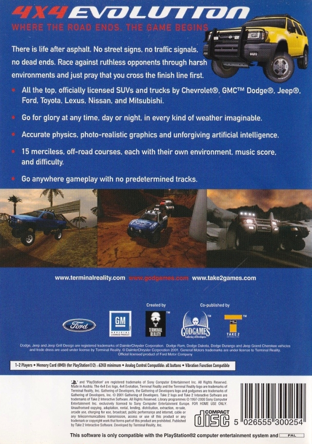 Back boxart of the game 4X4 Evolution (Europe) on Sony Playstation 2