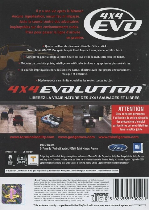 Back boxart of the game 4X4 Evolution (France) on Sony Playstation 2
