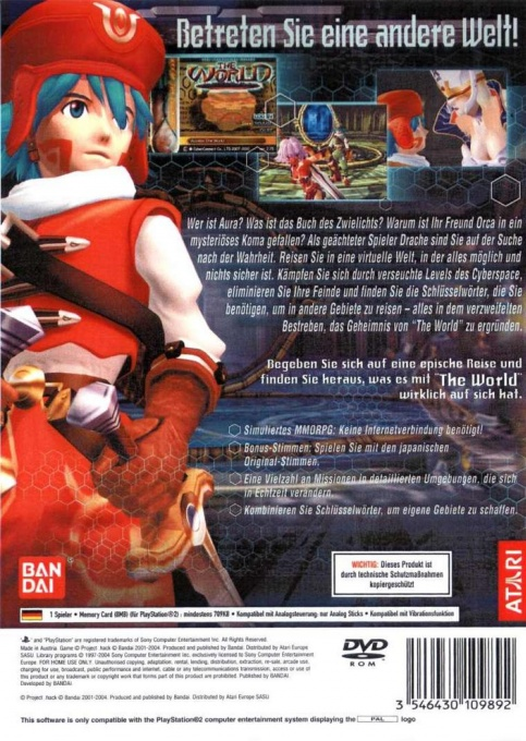 Back boxart of the game .hack//Infection Part 1 (Germany) on Sony Playstation 2