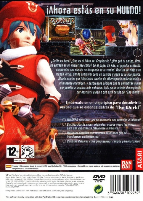 Back boxart of the game .hack//Infection Part 1 (Spain) on Sony Playstation 2