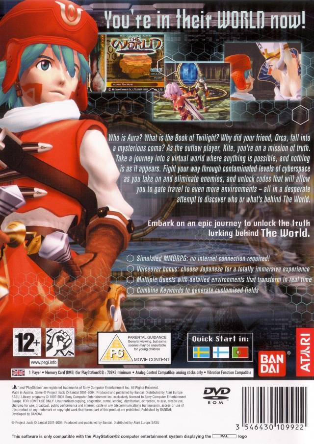 Back boxart of the game .hack//Infection Part 1 (Europe) on Sony Playstation 2