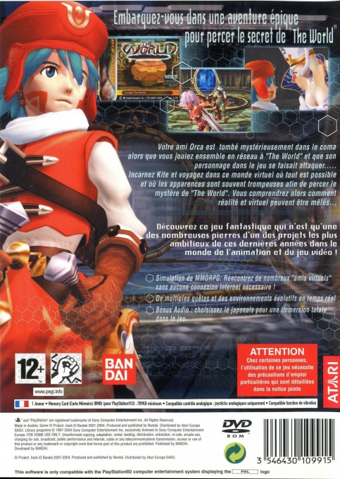 Back boxart of the game .hack//Infection Part 1 (France) on Sony Playstation 2