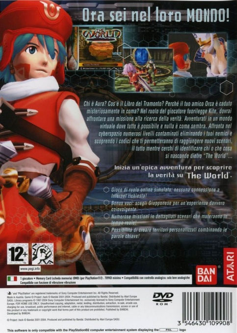 Back boxart of the game .hack//Infection Part 1 (Italy) on Sony Playstation 2