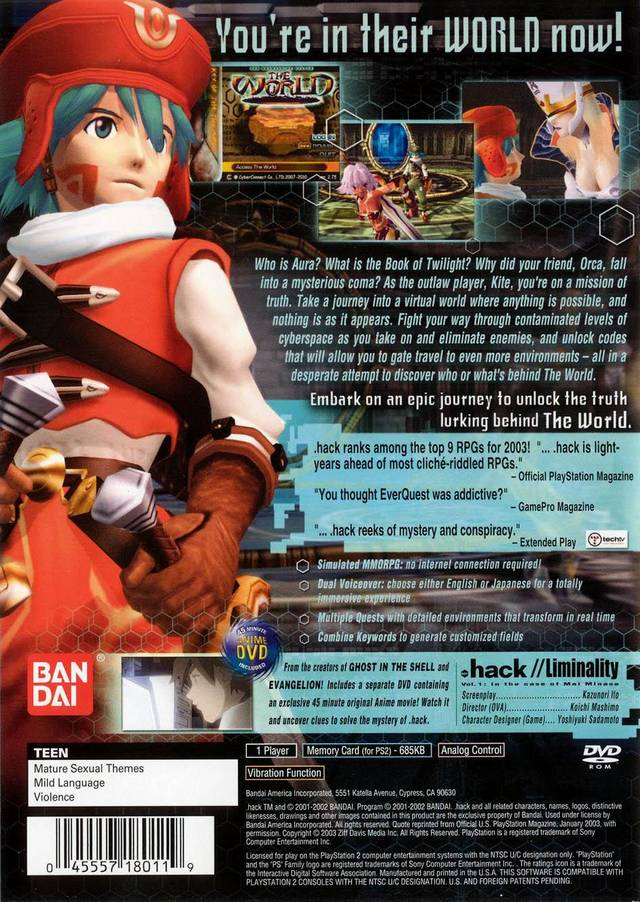 Back boxart of the game .hack//Infection Part 1 (United States) on Sony Playstation 2