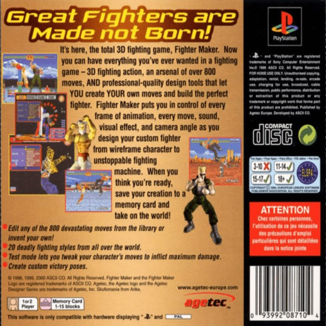 Back boxart of the game Fighter Maker (Europe) on Sony Playstation