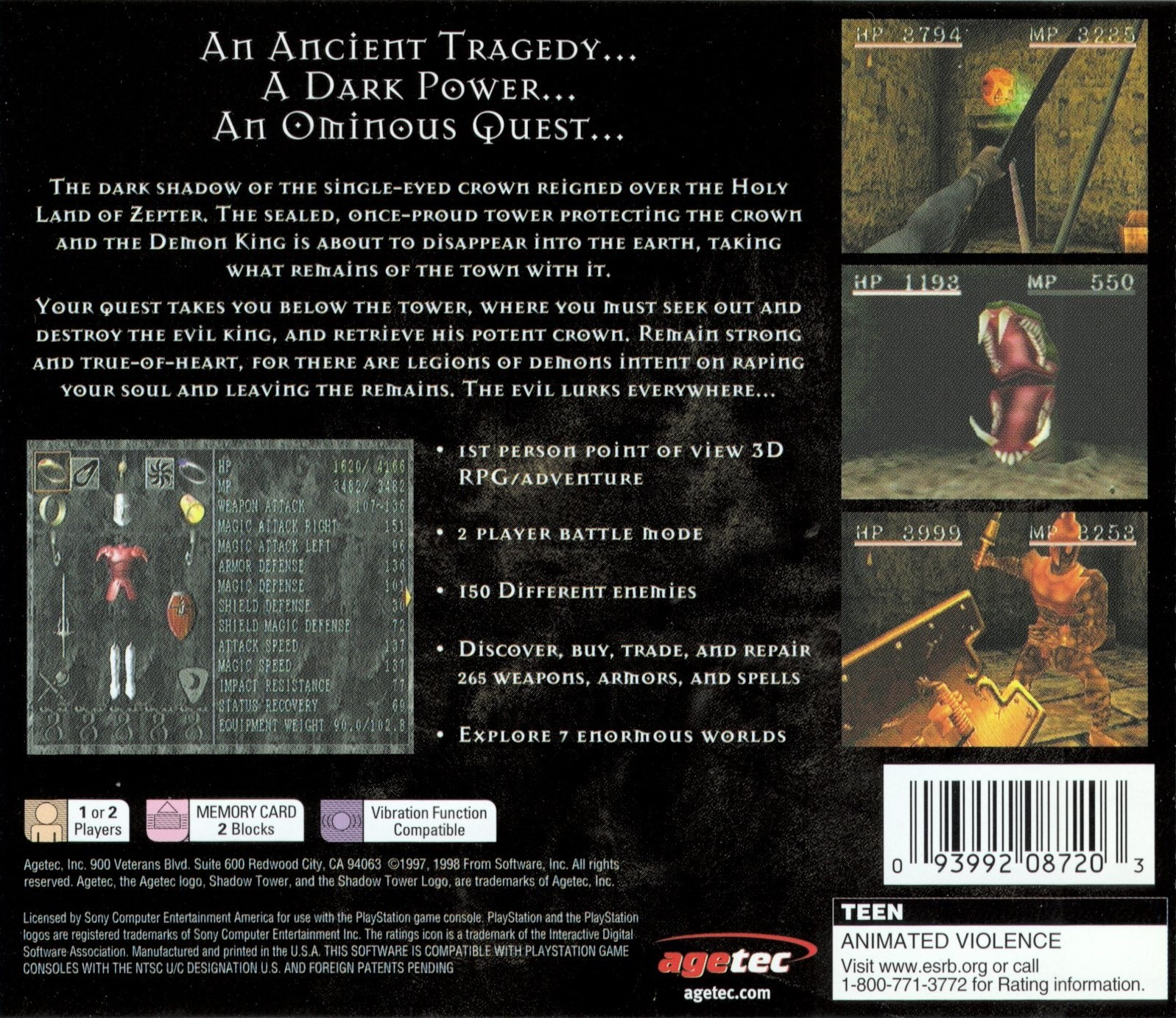 Back boxart of the game Shadow Tower (United States) on Sony Playstation