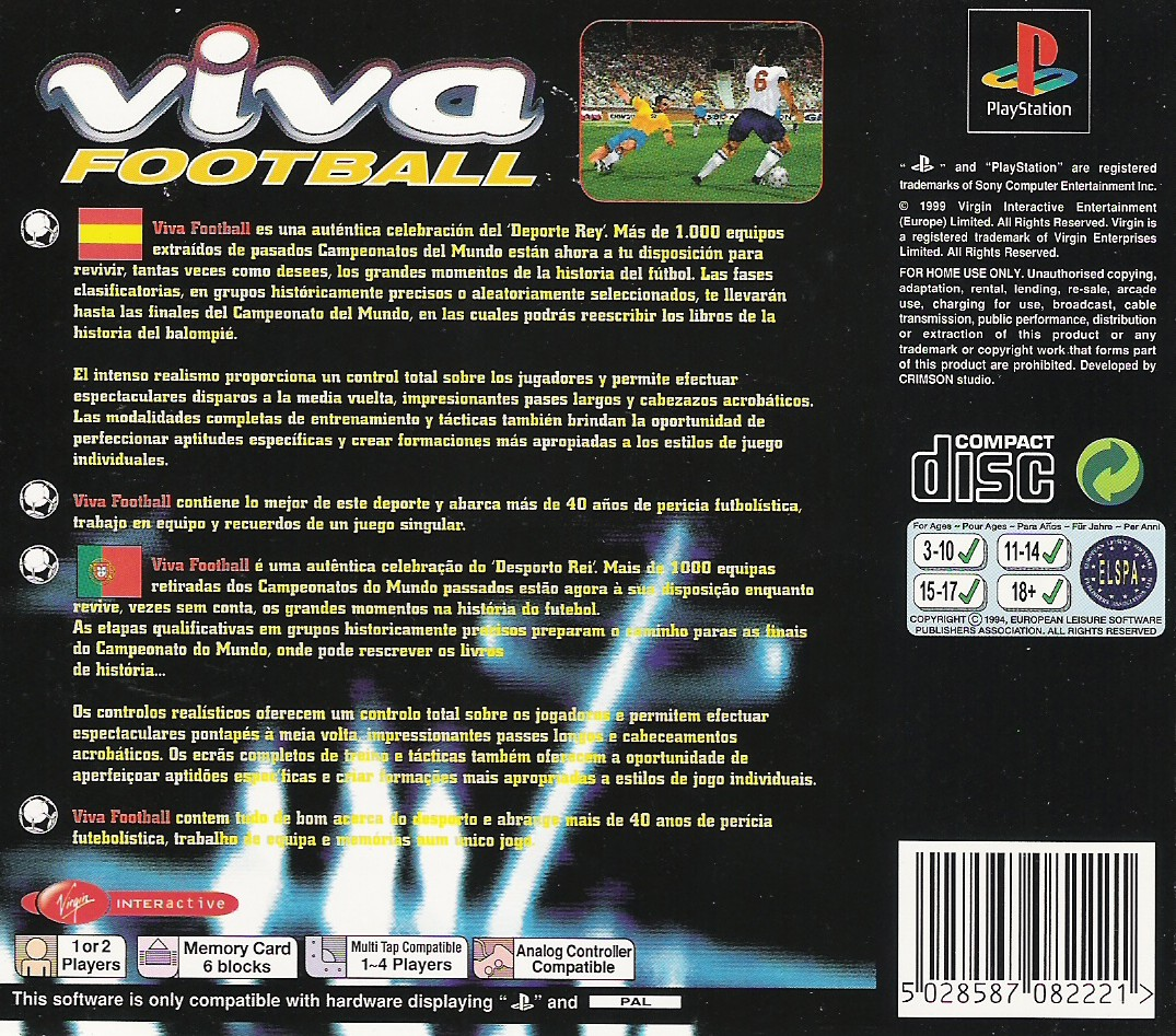 Back boxart of the game Viva Soccer (Europe) on Sony Playstation