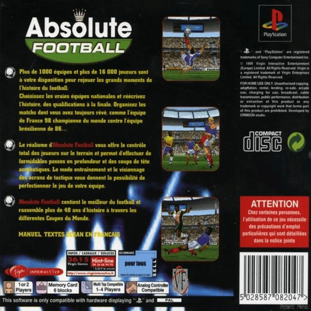 Back boxart of the game Viva Soccer (France) on Sony Playstation