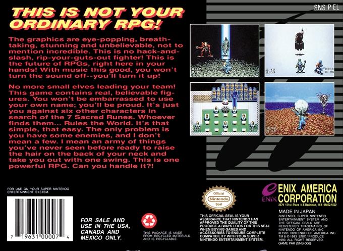 Back boxart of the game 7th Saga, The (United States) on Nintendo Super NES