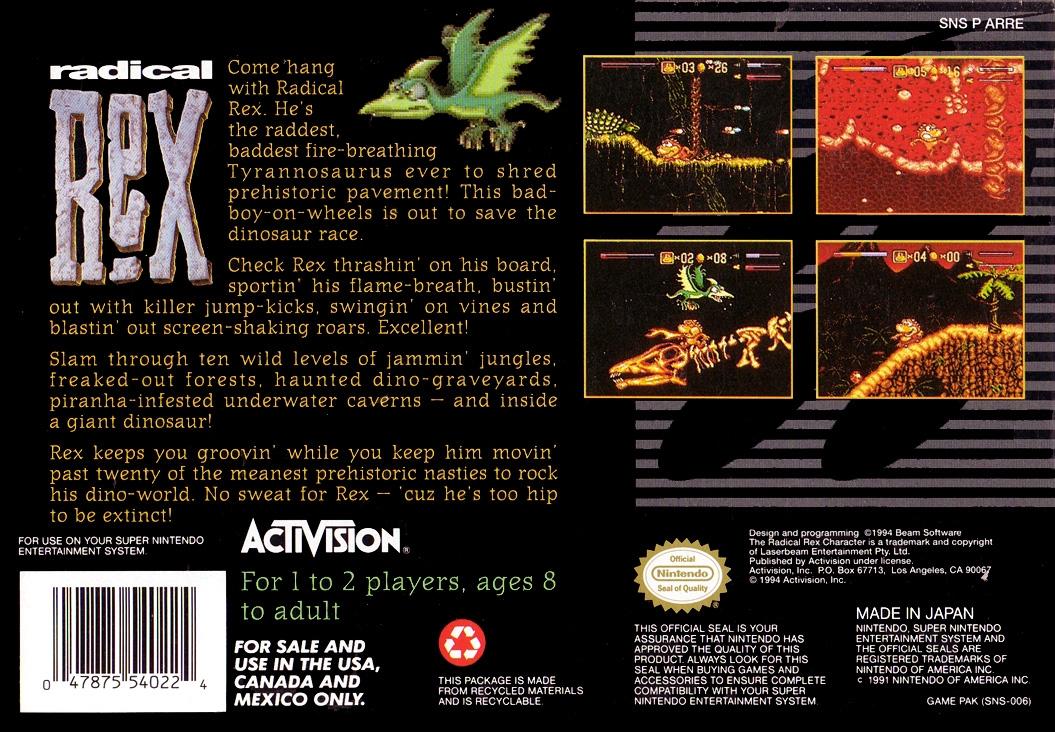 Back boxart of the game Radical Rex (United States) on Nintendo Super NES