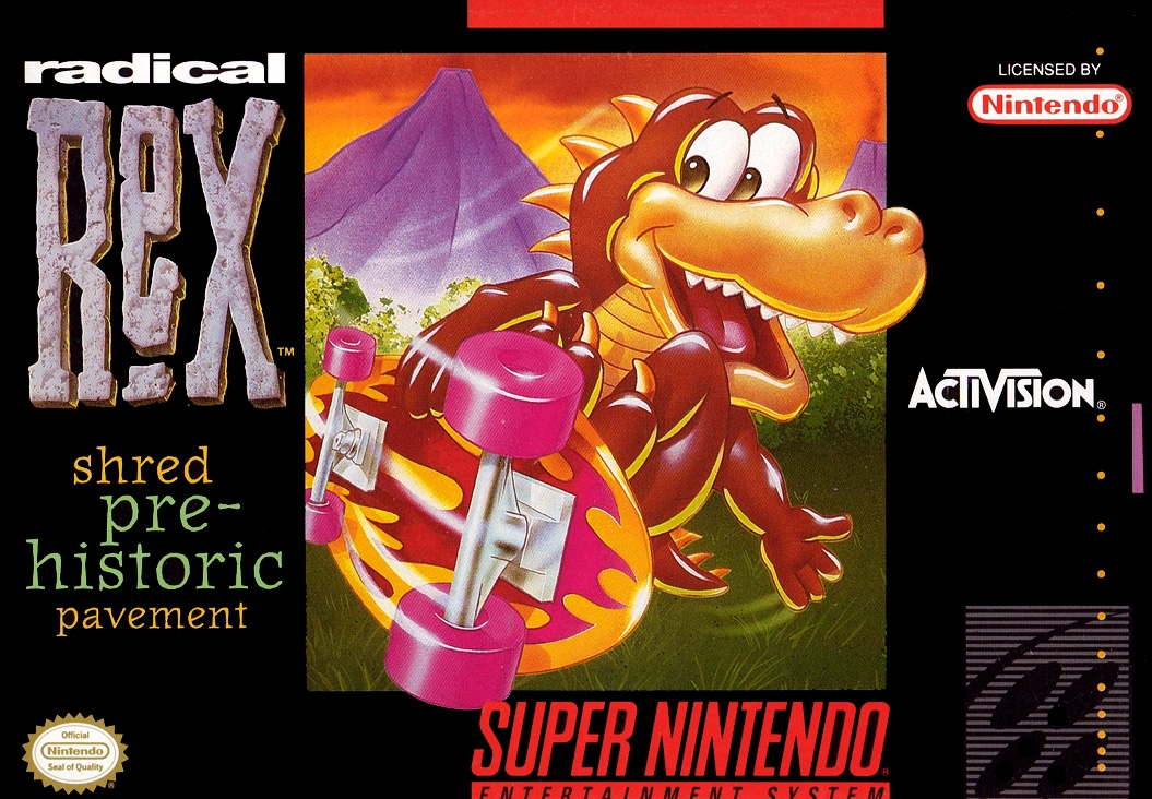 Front boxart of the game Radical Rex (United States) on Nintendo Super NES