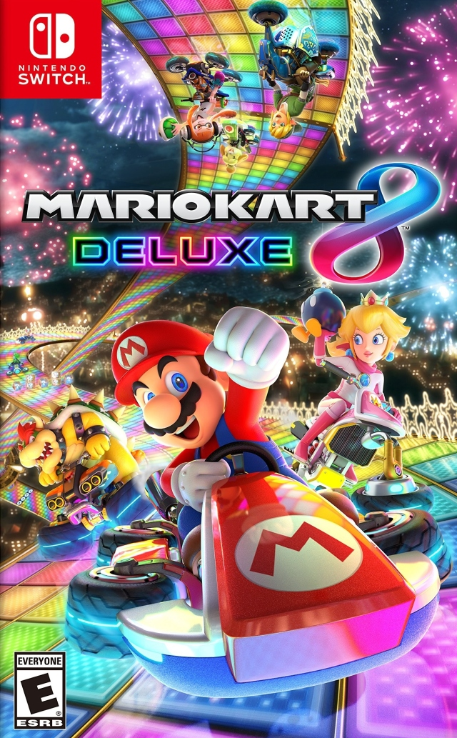 Front boxart of the game Mario Kart 8 Deluxe (United States) on Switch