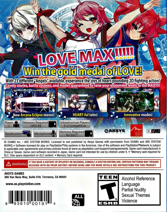 Back boxart of the game Arcana Heart 3 - LOVEMAX!!!!! (United States) on Sony PS Vita