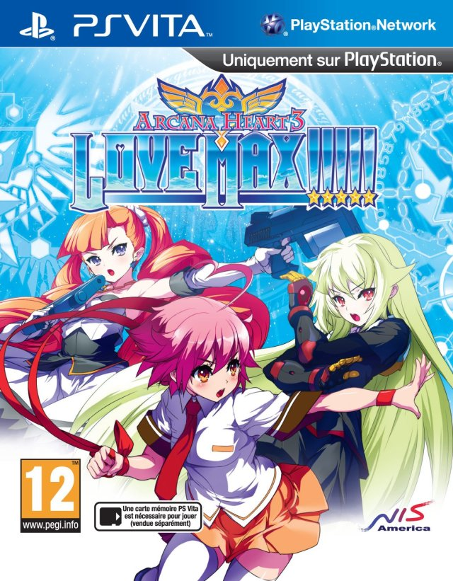 Front boxart of the game Arcana Heart 3 - LOVEMAX!!!!! (Europe) on Sony PS Vita