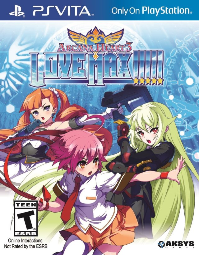 Front boxart of the game Arcana Heart 3 - LOVEMAX!!!!! (United States) on Sony PS Vita