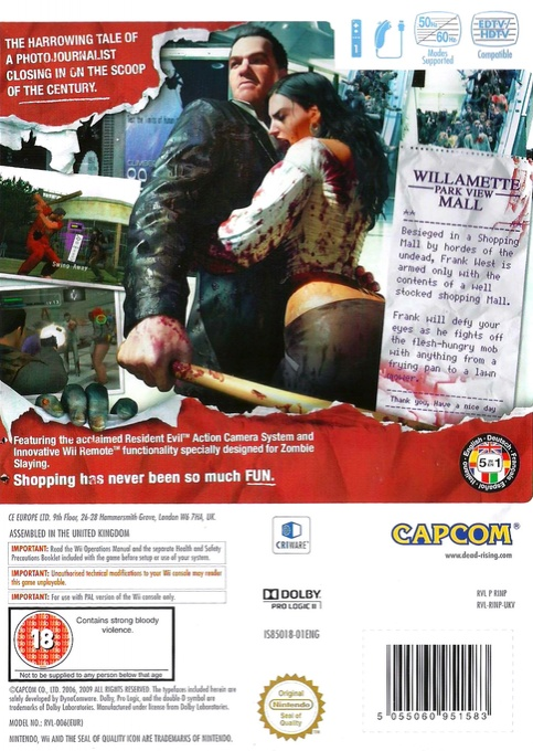 Back boxart of the game Dead Rising - Chop Till You Drop (Europe) on Nintendo Wii