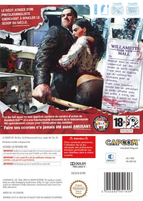 Back boxart of the game Dead Rising - Chop Till You Drop (France) on Nintendo Wii