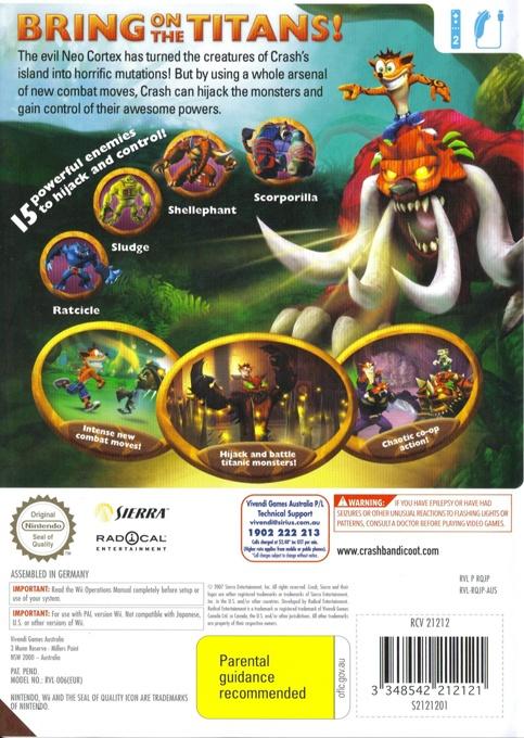 Back boxart of the game Crash of the Titans (Australia) on Nintendo Wii
