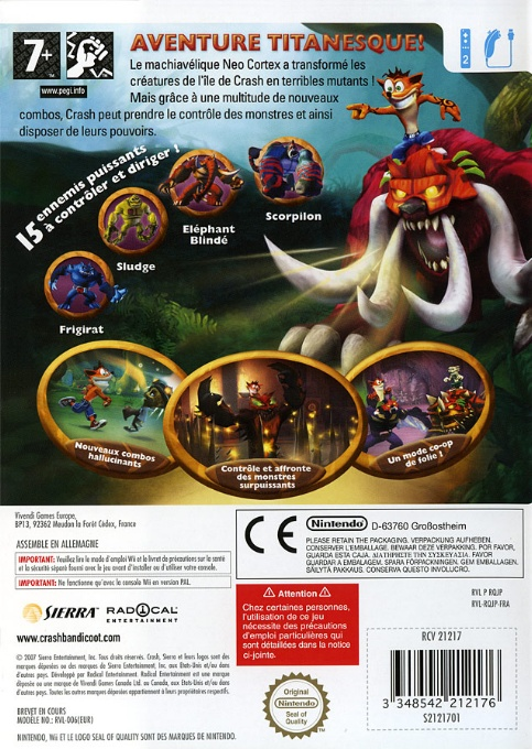 Back boxart of the game Crash of the Titans (France) on Nintendo Wii
