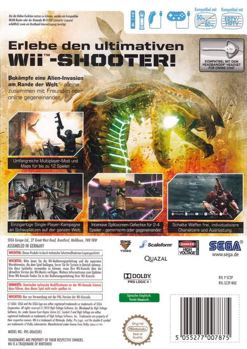 Back boxart of the game Conduit 2 (Germany) on Nintendo Wii