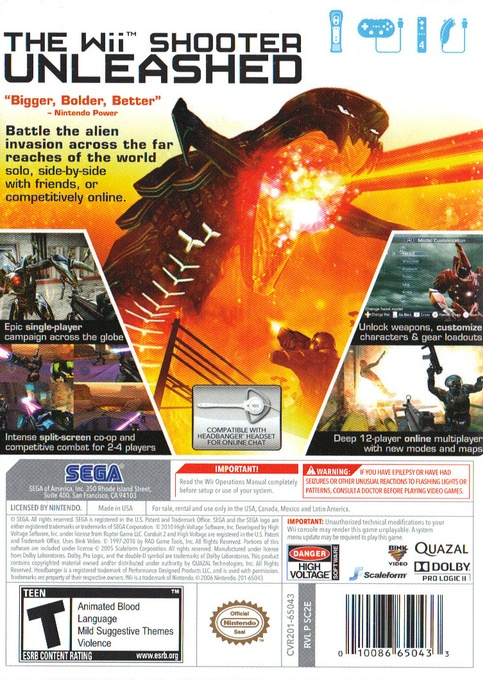 Back boxart of the game Conduit 2 (United States) on Nintendo Wii