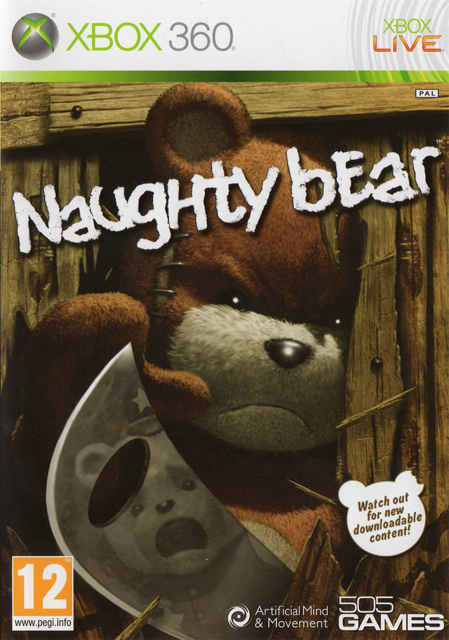 Front boxart of the game Naughty Bear (Europe) on Microsoft Xbox 360