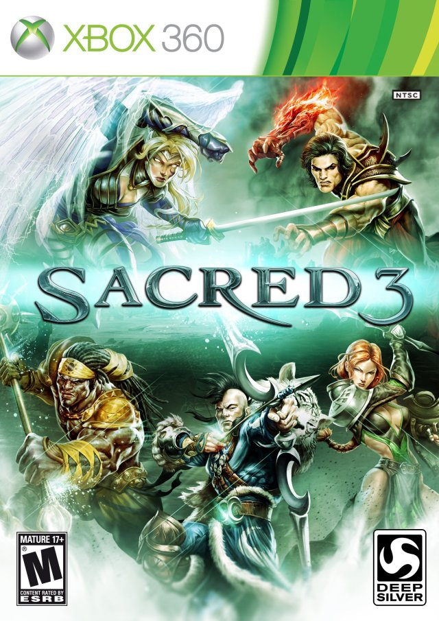 Front boxart of the game Sacred 3 (United States) on Microsoft Xbox 360