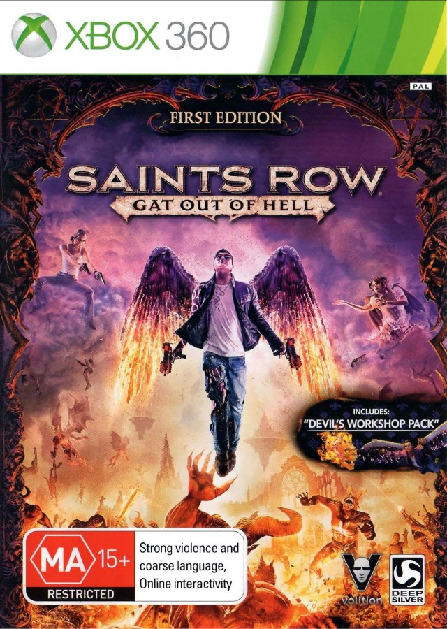 Front boxart of the game Saints Row - Gat Out of Hell (Australia) on Microsoft Xbox 360