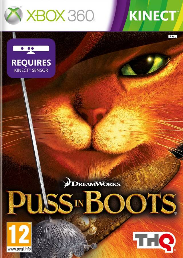 Front boxart of the game Puss in Boots (Europe) on Microsoft Xbox 360