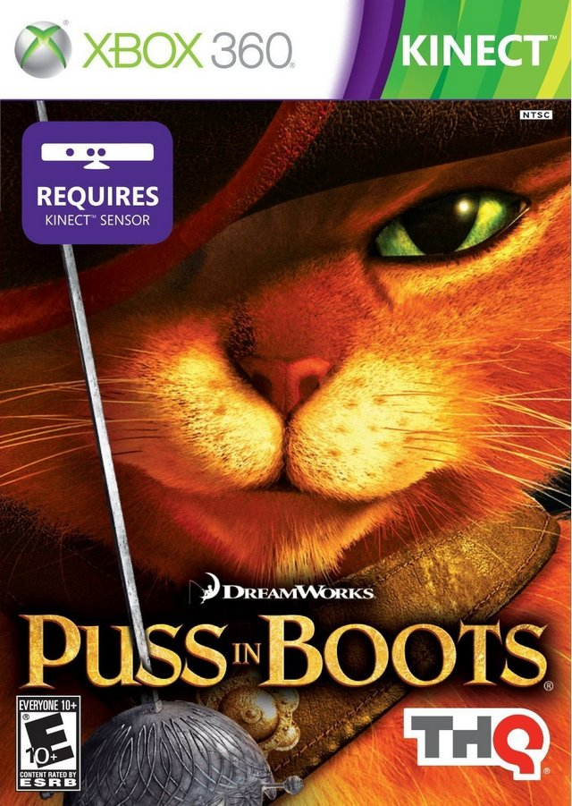 Front boxart of the game Puss in Boots (United States) on Microsoft Xbox 360