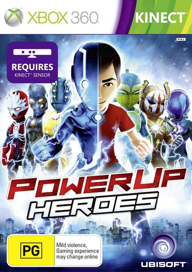 Front boxart of the game PowerUp Heroes (Australia) on Microsoft Xbox 360
