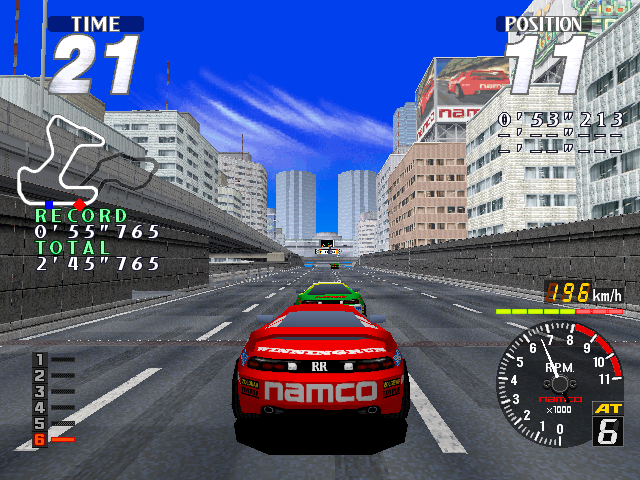 In-game screen of the game Rave Racer on Vivanonno