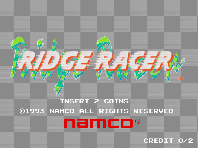Title screen of the game Ridge Racer on Vivanonno