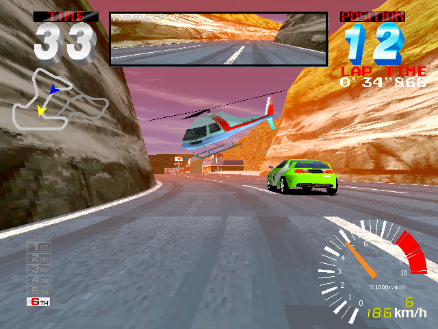 In-game screen of the game Ridge Racer 2 on Vivanonno