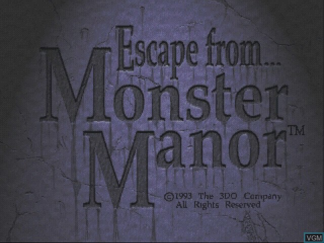 Title screen of the game Escape from Monster Manor - A Terrifying Hunt for the Undead on 3DO