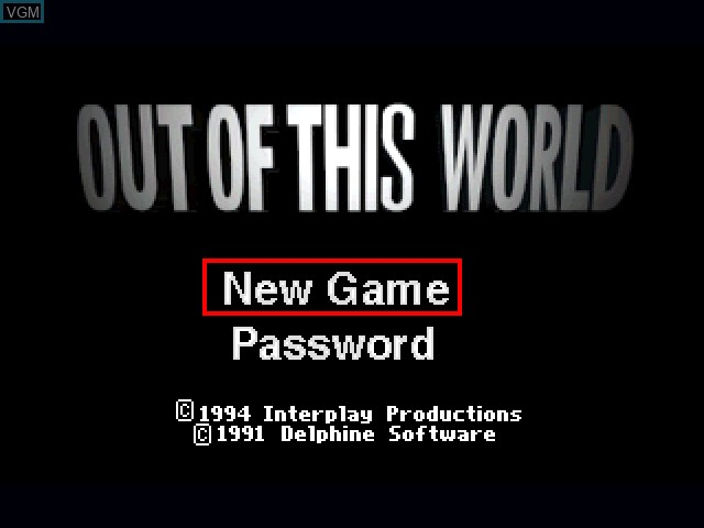 Title screen of the game Out of this World on 3DO