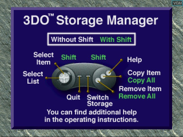 Title screen of the game 3DO Storage Manager on 3DO