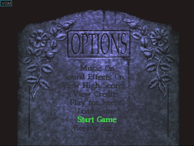 Menu screen of the game Escape from Monster Manor - A Terrifying Hunt for the Undead on 3DO