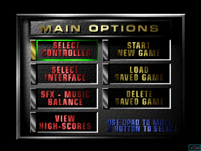 Menu screen of the game BladeForce on 3DO