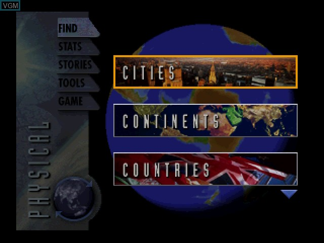 Menu screen of the game 3D Atlas on 3DO