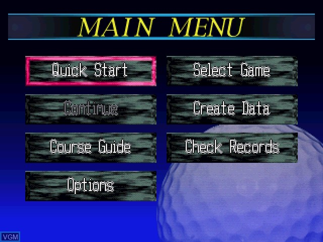 Menu screen of the game Pebble Beach Golf Links on 3DO