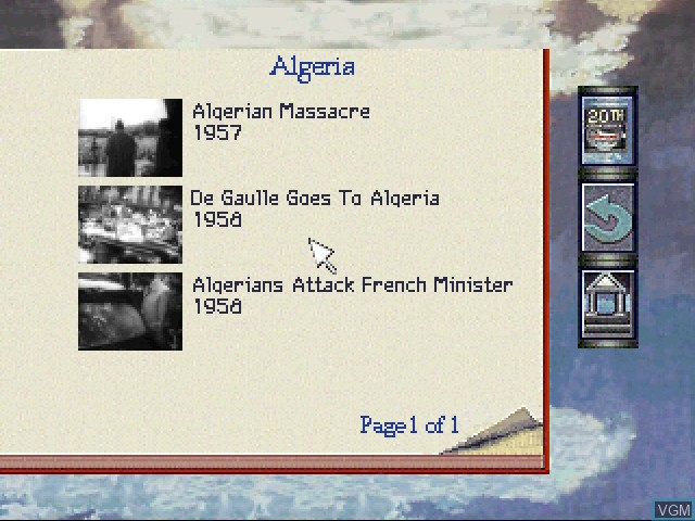 In-game screen of the game 20th Century Video Almanac on 3DO
