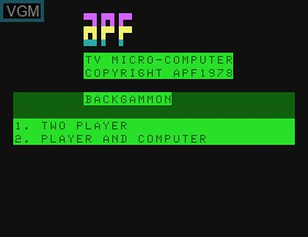 Title screen of the game Backgammon on APF Electronics Inc. APF-MP1000