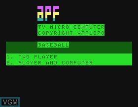 Title screen of the game Baseball on APF Electronics Inc. APF-MP1000