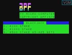 Title screen of the game Blackjack on APF Electronics Inc. APF-MP1000