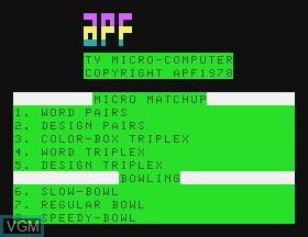 Title screen of the game Bowling & Micro Match on APF Electronics Inc. APF-MP1000