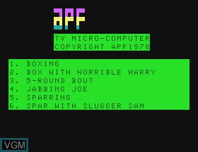 Title screen of the game Boxing on APF Electronics Inc. APF-MP1000