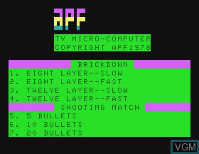 Title screen of the game Brickdown & Shooting Gallery on APF Electronics Inc. APF-MP1000
