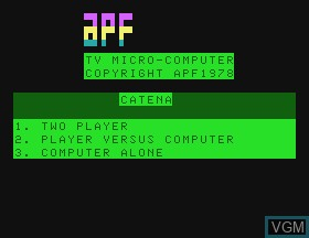 Title screen of the game Catena on APF Electronics Inc. APF-MP1000