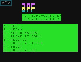 Title screen of the game UFO & Sea Monster & Break It Down & Rebuild & Shoot on APF Electronics Inc. APF-MP1000